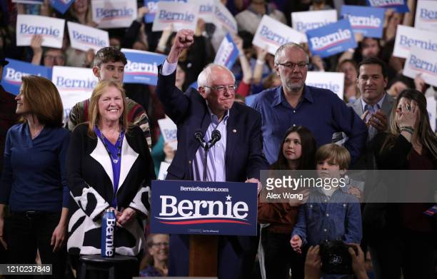 Democratic presidential candidate Sen Bernie Sanders addresses supporters at his Super Tuesday night event on March 03 2020 in Essex Junction Vermont...