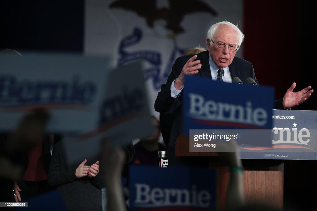Sen. Bernie Sanders Hosts Watch Party On Night Of Iowa Caucus : News Photo