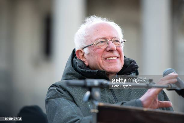 Democratic presidential candidate Sen Bernie Sanders addresses the crowd during King Day at the Dome March and Rally on January 20 2020 in Columbia...