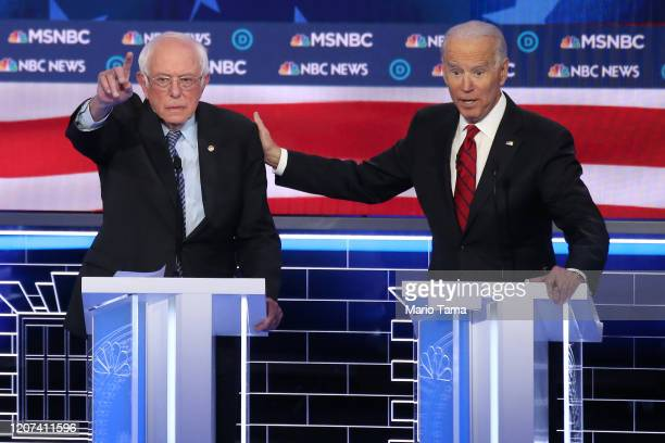 Democratic presidential candidate Sen Bernie Sanders and former Vice President Joe Biden participate in the Democratic presidential primary debate at...