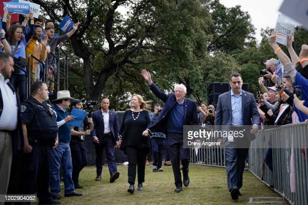 Democratic presidential candidate Sen Bernie Sanders and his wife Jane Sanders arrive for a campaign rally at Vic Mathias Shores Park on February 23...