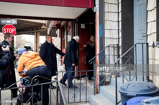 Democratic presidential candidate Sen Bernie Sanders and his wife Jane Sanders visit a diner April 8 2016 in the Brooklyn borough of New York City...