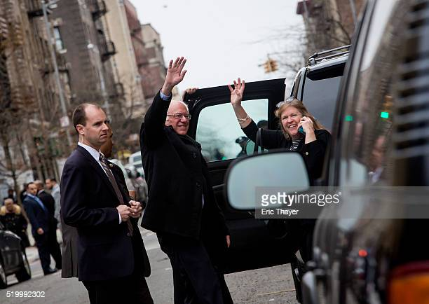 Democratic presidential candidate Sen Bernie Sanders and his wife Jane O'Meara Sanders wave to supporters during a campaign rally at the United...