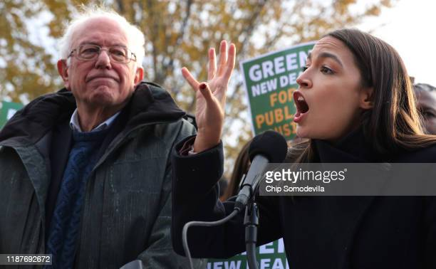 Democratic presidential candidate Sen. Bernie Sanders and Rep. Alexandria Ocasio-Cortez hold a news conference to introduce legislation to transform...