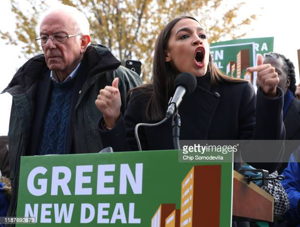 Democratic presidential candidate Sen Bernie Sanders and Rep Alexandria OcasioCortez hold a news conference to introduce legislation to transform...