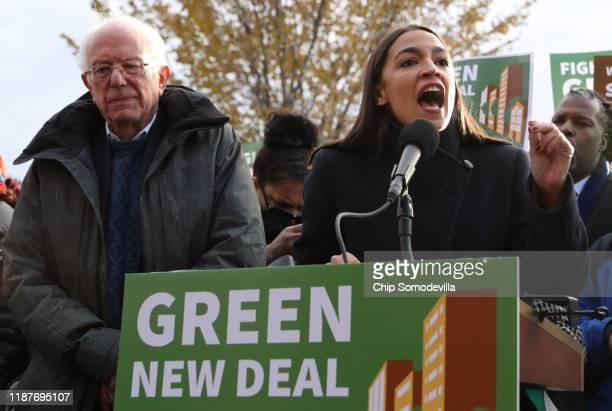 Democratic presidential candidate Sen Bernie Sanders and Rep Alexandria OcasioCortez hold a news conference to introduce legislation to transform...