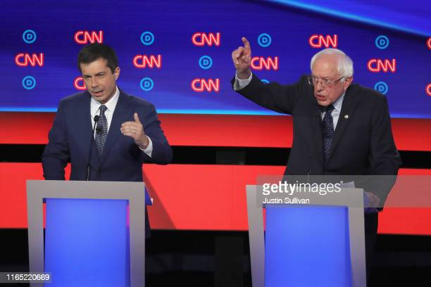 Democratic presidential candidate Sen Bernie Sanders and South Bend Indiana Mayor Pete Buttigieg speak during the Democratic Presidential Debate at...