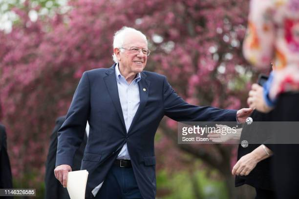 Democratic presidential candidate Sen Bernie Sanders arrives at a rally in the capital of his home state of Vermont on May 25 2019 in Montpelier...
