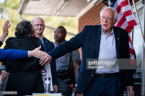 Democratic presidential candidate Sen Bernie Sanders arrives at a campaign rally on February 28 2020 in Aiken South Carolina South Carolina holds its...