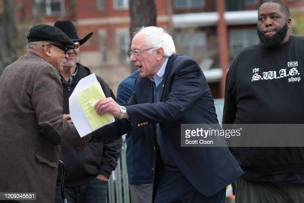 Democratic presidential candidate Sen Bernie Sanders arrives at a campaign rally at Finlay Park on February 28 2020 in Columbia South Carolina Voters...