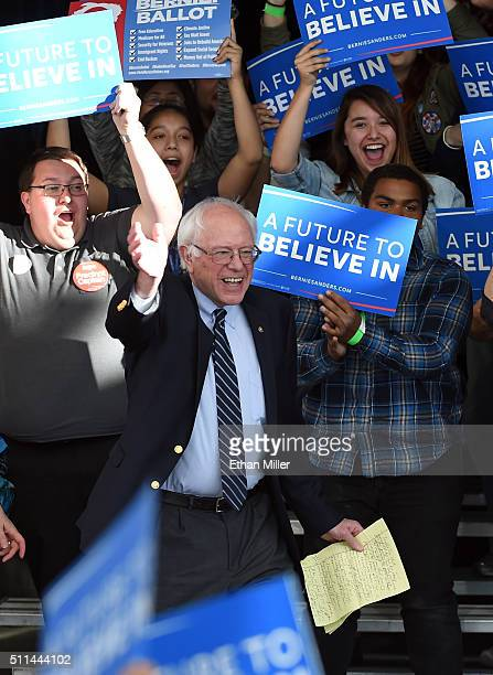 Democratic presidential candidate Sen Bernie Sanders arrives at the Henderson Pavilion as he concedes the Nevada caucus on February 20 2016 in...