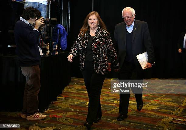 Democratic presidential candidate Sen Bernie Sanders arrives with his wife Jane O'Meara Sanders at a campaign rally at DoubleTree Convention Center...