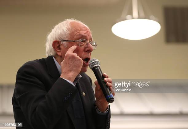 Democratic presidential candidate Sen Bernie Sanders attends a campaign event at Winterset Middle School Commons on December 30 2019 in Winterset...