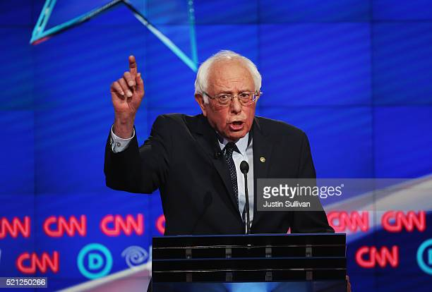 Democratic Presidential candidate Sen Bernie Sanders debates against Hillary Clinton during the CNN Democratic Presidential Primary Debate at the...