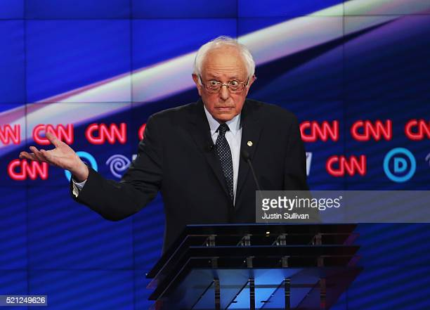 Democratic Presidential candidate Sen Bernie Sanders debates Hillary Clinton during the CNN Democratic Presidential Primary Debate at the Duggal...