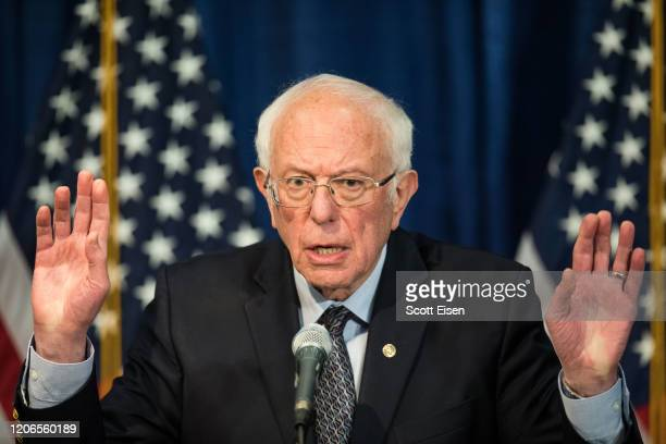 Democratic presidential candidate Sen Bernie Sanders delivers a campaign update at the Hotel Vermont on March 11 2020 in Burlington Vermont