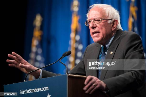 Democratic presidential candidate Sen. Bernie Sanders delivers remarks at a campaign function in the Marvin Center at George Washington University on...