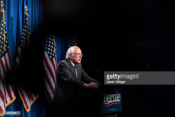 Democratic presidential candidate Sen Bernie Sanders delivers remarks at a campaign function in the Marvin Center at George Washington University on...