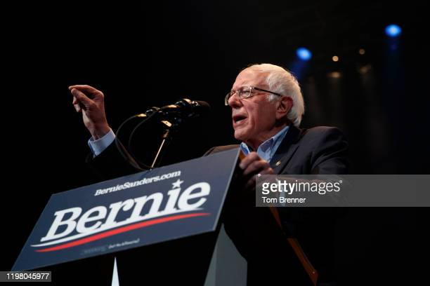 Democratic presidential candidate Sen. Bernie Sanders delivers remarks during a campaign rally at the U.S. Bank Arena on February 1, 2020 in Cedar...
