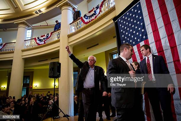 Democratic presidential candidate Sen. Bernie Sanders departs a campaign rally at Bronx Community College on April 9, 2016 in the Bronx borough of...