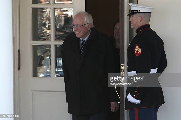 Democratic presidential candidate Sen Bernie Sanders departs the White House after meeting with US President Barack Obama January 27 2016 in...