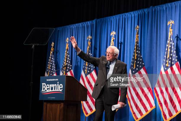 Democratic presidential candidate Sen Bernie Sanders exits after delivering remarks at a campaign function in the Marvin Center at George Washington...