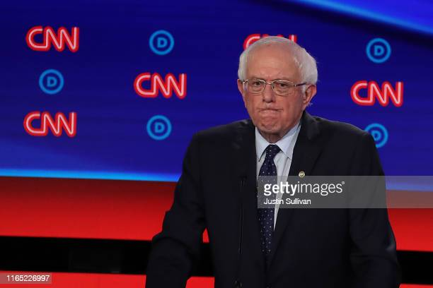 Democratic presidential candidate Sen Bernie Sanders gestures during the Democratic Presidential Debate at the Fox Theatre July 30 2019 in Detroit...