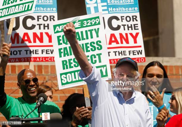 Democratic Presidential Candidate Sen Bernie Sanders gives a speech during a singleday strike of University of California research and technical...