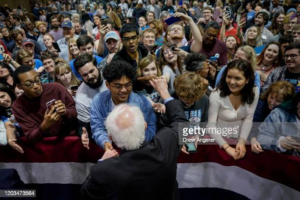 Democratic presidential candidate Sen Bernie Sanders greets supporters after a campaign rally at the Charleston Area Convention Center on February 26...