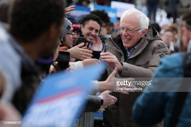 Democratic presidential candidate Sen Bernie Sanders greets supporters at the conclusion of a campaign rally in the Central Mall of the Utah State...