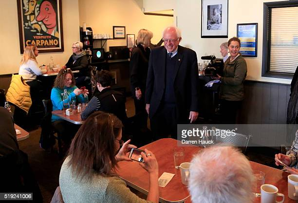 Democratic presidential candidate Sen Bernie Sanders greets guest as he gets breakfast at Blue's Egg on April 5 2016 in Milwaukee Wisconsin...
