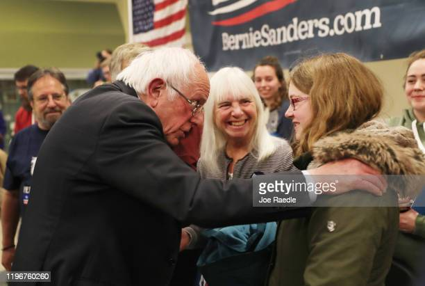 Democratic presidential candidate Sen Bernie Sanders greets people during a campaign event at Winterset Middle School Commons on December 30 2019 in...
