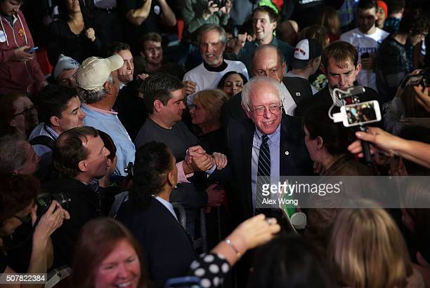 Democratic presidential candidate Sen Bernie Sanders greets voters during a campaign event at Grand View University January 31 2016 in Des Moines...