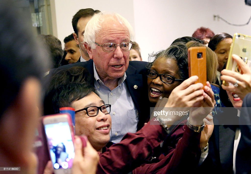 Democratic presidential candidate Sen. Bernie Sanders (D-VT) greets workers in the cafeteria of the MGM Grand Casino on February 20, 2016 in Las Vegas, Nevada. Sanders and Hillary Clinton wait for the voters to weigh in as they head to the polls in the Democratic caucus.