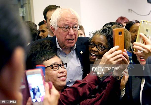 Democratic presidential candidate Sen. Bernie Sanders greets workers in the cafeteria of the MGM Grand Casino on February 20, 2016 in Las Vegas,...