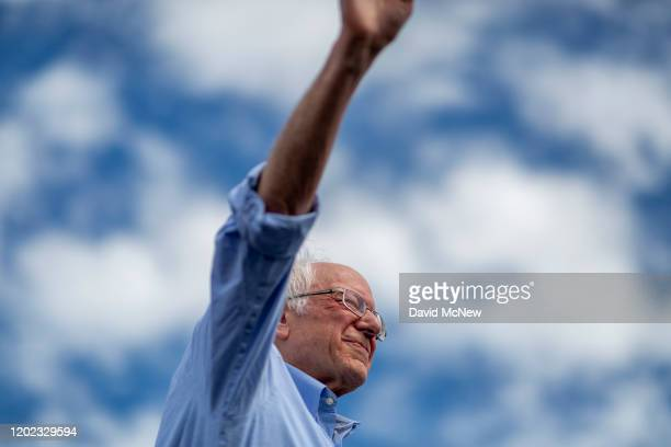 Democratic presidential candidate Sen Bernie Sanders holds a Get Out the Early Vote rally on February 21 2020 in Santa Ana California Sanders is...