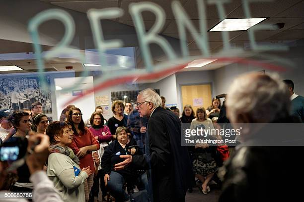 Democratic presidential candidate Sen Bernie Sanders holds a 'Meet and Greet' with supporters at his Salem field office on December 14 2015 in Salem...