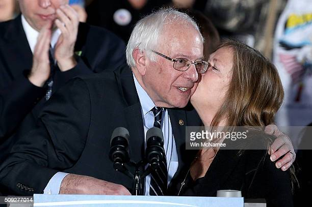 Democratic presidential candidate Sen Bernie Sanders is kissed on the cheek by his wife Jane O'Meara Sanders after winning the New Hampshire primary...