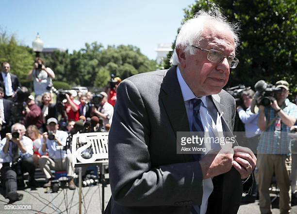 Democratic presidential candidate Sen. Bernie Sanders leaves after an Oval Office meeting with President Barack Obama at the White House June 9, 2016...