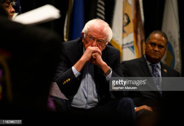 Democratic presidential candidate Sen Bernie Sanders listens to a question at the Frank LaMere Native American Presidential Forum on August 20 2019...