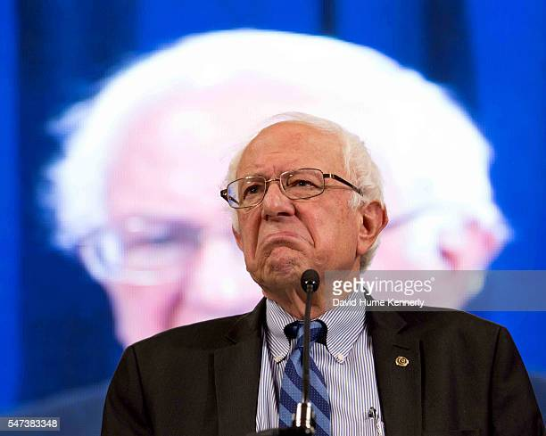 Democratic presidential candidate Sen. Bernie Sanders of Vermont speaks at the New Hampshire Democratic Party Convention in Manchester, New...