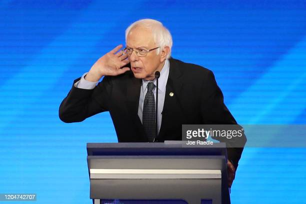 Democratic presidential candidate Sen Bernie Sanders participates in the presidential primary debate in the Sullivan Arena at St Anselm College on...