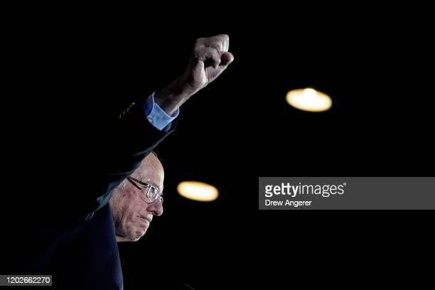 Democratic presidential candidate Sen Bernie Sanders raises his fist as he arrives onstage after winning the Nevada caucuses during a campaign rally...