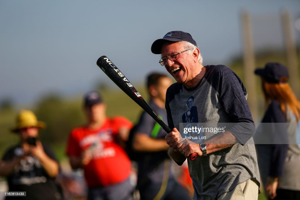 """Bernie Sanders Joins Press And Campaign Staff For Softball In """"Field Of Dreams"""" : News Photo"""