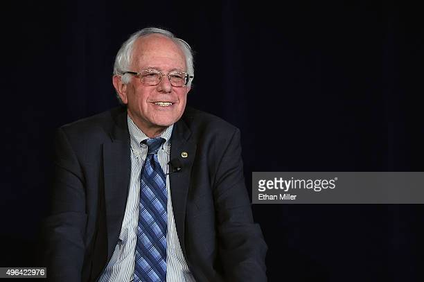 Democratic presidential candidate Sen Bernie Sanders smiles during a forum organized by the Fair Immigration Reform Movement and The Nation magazine...