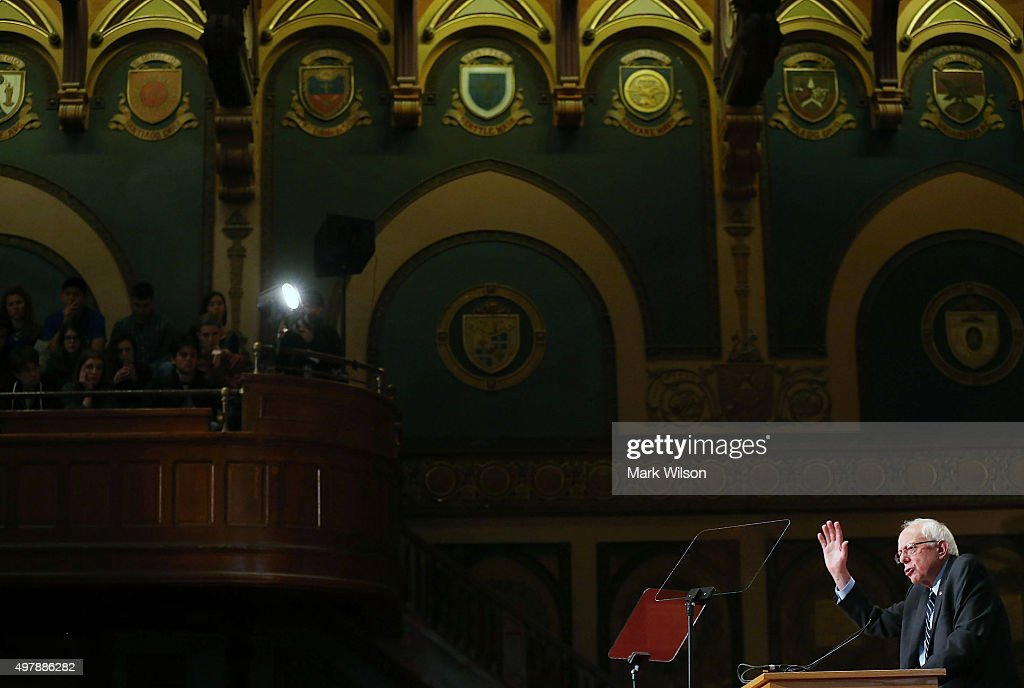 Democratic Presidential candidate Sen. Bernie Sanders (I-VT) speaks about democratic socialism at Georgetown University November 19, 2015 in Washington, DC. Sanders spoke about his vision for creating an American future that he said was based on economic and social justice and environmental sanity.