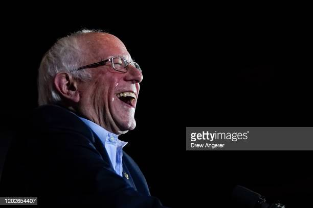 Democratic presidential candidate Sen Bernie Sanders speaks after winning the Nevada caucuses during a campaign rally at Cowboys Dancehall on...