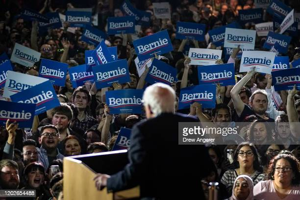 Democratic presidential candidate Sen. Bernie Sanders speaks after winning the Nevada caucuses during a campaign rally at Cowboys Dancehall on...