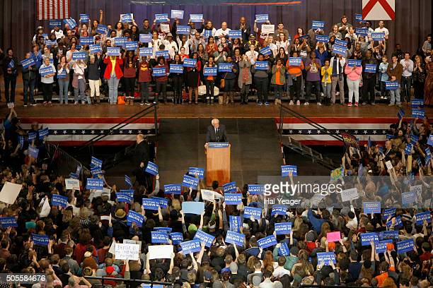 Democratic presidential candidate Sen Bernie Sanders speaks at Boutwell Auditorium January 18 2016 in Birmingham Alabama Sanders spoke to a capacity...