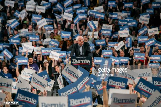 Democratic presidential candidate Sen. Bernie Sanders speaks at a campaign rally at the University of Minnesotas Williams Arena on November 2019 in...